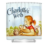 Charlottes Web Shower Curtain by Elizabeth Coats