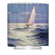 Chas Marer - Sailboat Shower Curtain by Hawaiian Legacy Archive - Printscapes