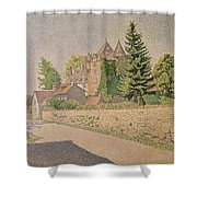Chateau De Comblat Shower Curtain by Paul Signac