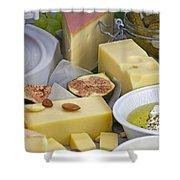 Cheese plate Shower Curtain by Joana Kruse