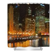 Chicago At Night Shower Curtain by Jeff Kolker