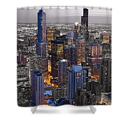 Chicago Loop Sundown Bw Color Blend Shower Curtain by Steve Gadomski