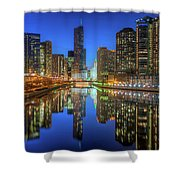 Chicago River East Shower Curtain by Steve Gadomski