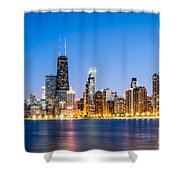 Chicago Skyline At Twilight Shower Curtain by Paul Velgos