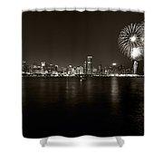 Chicago Skyline Fireworks BW Shower Curtain by Steve Gadomski