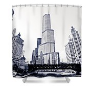 Chicago Trump Tower And Wrigley Building Shower Curtain by Paul Velgos