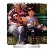 Children - Balanced Meal Shower Curtain by Mike Savad