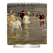 Children On The Beach Shower Curtain by Edward Henry Potthast