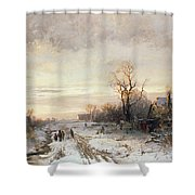 Children Playing In A Winter Landscape Shower Curtain by August Fink