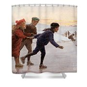 Children Skating Shower Curtain by Percy Tarrant