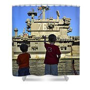 Children Wave As Uss Ronald Reagan Shower Curtain by Stocktrek Images