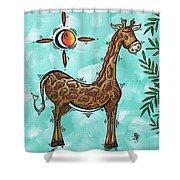 Childrens Nursery Art Original Giraffe Painting Playful By Madart Shower Curtain by Megan Duncanson
