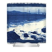 China Beach And Golden Gate Bridge With Blue Tones Shower Curtain by Carol Groenen