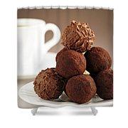 Chocolate Truffles And Coffee Shower Curtain by Elena Elisseeva