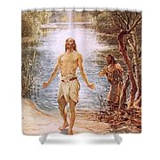 Christ Baptised By John The Baptist Shower Curtain by William Brassey Hole