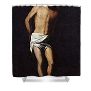 Christ Bound To The Column Shower Curtain by Alonso Cano