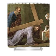 Christ Carrying The Cross Shower Curtain by Eustache Le Sueur