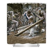 Christ Falls Beneath the Cross Shower Curtain by Tissot