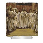 Christ With The Twelve Apostles Shower Curtain by Tissot