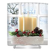 Christmas Candles Display Shower Curtain by Amanda And Christopher Elwell