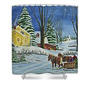 Christmas Eve In The Country Shower Curtain by Charlotte Blanchard
