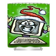 Christmas Office Party Shower Curtain by Kevin Middleton