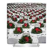 Christmas Wreaths Adorn Headstones Shower Curtain by Stocktrek Images