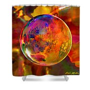 Chromatic Floral Sphere Shower Curtain by Robin Moline