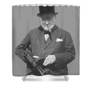 Churchill Posing With A Tommy Gun Shower Curtain by War Is Hell Store