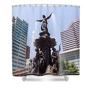 Cincinnati Fountain Tyler Davidson Genius Of Water Shower Curtain by Paul Velgos