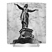 Cincinnati Fountain Tyler Davidson Genius Of Water Statue Shower Curtain by Paul Velgos