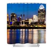 Cincinnati Skyline at Night  Shower Curtain by Paul Velgos