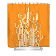 circuit board graphic Shower Curtain by Setsiri Silapasuwanchai