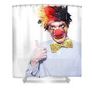 Circus Clown With Thumb Up To Carnival Advertising Shower Curtain by Jorgo Photography - Wall Art Gallery