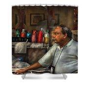 City - Ny - The Pretzel Vendor Shower Curtain by Mike Savad