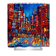 City After The Rain Shower Curtain by Carole Spandau