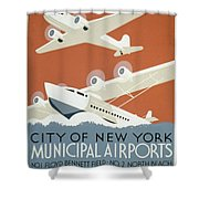 City Of New York Municipal Airports Shower Curtain by Christopher DeNoon