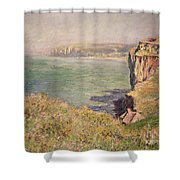 Cliff At Varengeville Shower Curtain by Claude Monet
