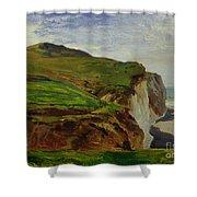 Cliffs Shower Curtain by Louis Eugene Gabriel Isabey
