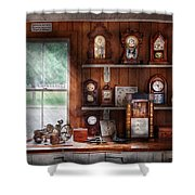 Clocksmith - In The Clock Repair Shop Shower Curtain by Mike Savad