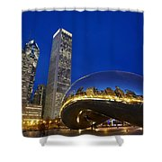 Cloud Gate The Bean Sculpture In Front Shower Curtain by Axiom Photographic