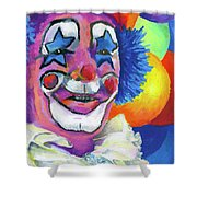 Clown With Balloons Shower Curtain by Stephen Anderson