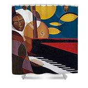 Cobalt Jazz Shower Curtain by Kaaria Mucherera