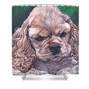 Cocker spaniel puppy Shower Curtain by Lee Ann Shepard