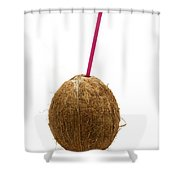 Coconut With A Straw Shower Curtain by Fabrizio Troiani