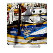 Colorful Boats Shower Curtain by Lainie Wrightson