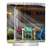 Colorful Chairs Shower Curtain by Sharon Foster