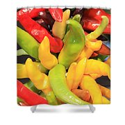 Colorful Chili Peppers  Shower Curtain by Carol Groenen
