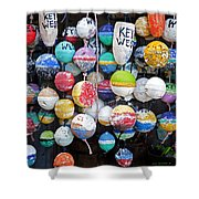 Colorful Key West Lobster Buoys Shower Curtain by John Stephens