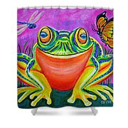 Colorful Smiling Frog-voodoo Frog Shower Curtain by Nick Gustafson
